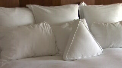 Hotel Bed in afternoon light Stock Footage