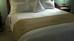 Hotel Bed Tilt up Night Stock Footage