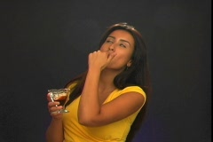 Beautiful Young Latina with Chocolate Syrup (2) Stock Footage