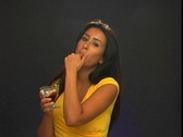 Stock Video Footage of Beautiful Young Latina with Chocolate Syrup (2)