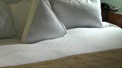Hotel Pillows Tilt up Stock Footage