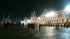 Even night in red square of packed people Stock Footage