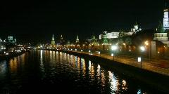 Night kremlin in light of neon Stock Footage