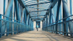 Lucky boy on bridge - stock footage