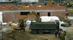 Builders work at construction site Stock Footage