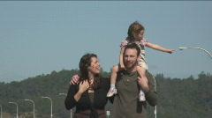 Family walk - stock footage
