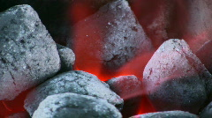 Charcoal burning in the BBQ - stock footage