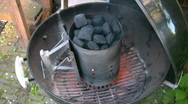 Stock Video Footage of Charcoal burning in the BBQ