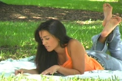 Beautiful Young Latina Reading Outdoors (2) Stock Footage