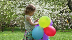Girl plays with ball Stock Footage