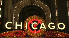Chicago sign at Night Stock Footage