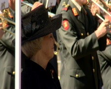 The Dutch Queen Beatrix at a military inspection Den Haag Stock Footage