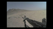 Stock Video Footage of Firing a rifle DIMACO in the desert of Afghanistan