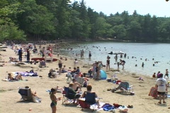 People walk around Walden ponds beach. Stock Footage