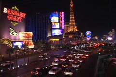 Traffic drives past the hotels and casinos on the Las Vegas strip. Stock Footage