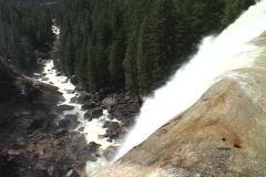 Stock Video Footage of Vernal Falls goes over a cliff in Yosemite National Park.