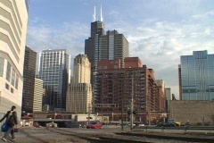 Railroad tracks run in front of the Chicago skyline. Stock Footage