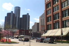 Downtown skyscrapers rise in the Detroit skyline. Stock Footage