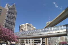 A monorail moves people through downtown Detroit. - stock footage