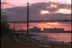 Ambassador Bridge links the US and Canada at Detroit and Windsor. Stock Footage