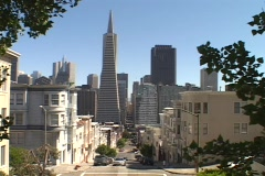 Houses stand in a neighborhood near downtown San Francisco, California. Stock Footage