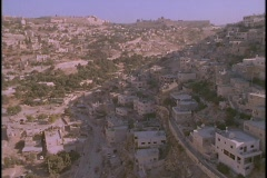 An aerial over Palestinian villages in the West Bank near Jerusalem. Stock Footage