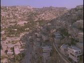 Stock Video Footage of An aerial over Palestinian villages in the West Bank near Jerusalem.