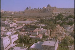 The Temple Mount towers over Jerusalem in this spectacular aerial shot. - stock footage