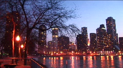 Golden-hour view of downtown skyscrapers from Chicago's lakefront. Stock Footage