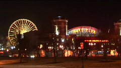Chicago's Navy Pier and the Children's Museum light up the night. Stock Footage