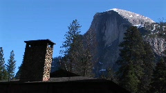 Close-up of a cabin chimney in Yosemite Stock Footage