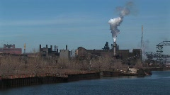 Power plants and other industrial buildings are located near Stock Footage