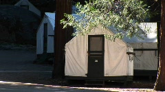 Medium-shot of park tents provided for campers at Yosemite Stock Footage