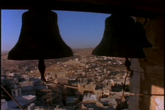 Large bells ring overlooking the Holy land. Stock Footage