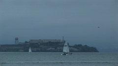 Historic Alcatraz island opposite San Francisco Stock Footage