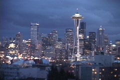 The Space Needle dominates the Seattle skyline. - stock footage