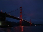 Stock Video Footage of A spectacular nightime view of historic Golden Gate Bridge