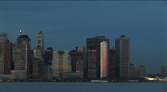 A dramatic pan of the New York skyline during the golden-hour. Stock Footage