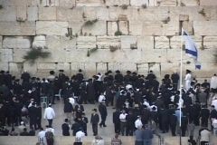 Orthodox Jews pray at the Wailing Wall in the Old City, Jerusalem. Stock Footage