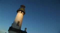 A hand-held, jaunty view of a lighthouse Stock Footage