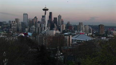 A dramatic view of Seattle's skyline at the golden hour Stock Footage
