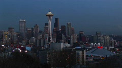 A look at Seattle's stunning skyline with its landmark Space Needle Stock Footage