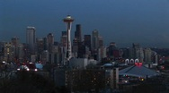 Stock Video Footage of A look at Seattle's stunning skyline with its landmark Space Needle