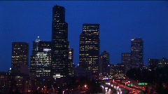 Seattle's skyscrapers towering above an inner-city expressway Stock Footage