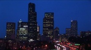 Stock Video Footage of Seattle's skyscrapers towering above an inner-city expressway