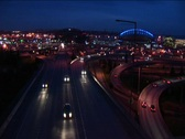 Vehicles in rush hour enter a freeway Stock Footage
