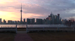 A lovely shot of the Toronto skyline at the golden-hour from Stock Footage