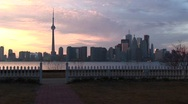 Stock Video Footage of A lovely shot of the Toronto skyline at the golden-hour from