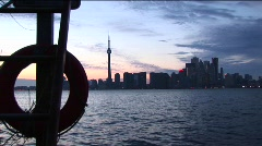 View from an island boat dock of the Toronto, Ontario, skyline Stock Footage
