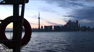 Stock Video Footage of View from an island boat dock of the Toronto, Ontario, skyline